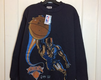 deadstock 1990s New York Knicks basketball team sports black sweatshirt size medium NBA nwt 1993 made in USA