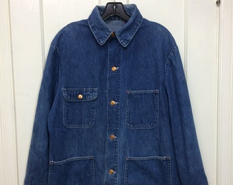 1960s distressed faded indigo blue denim chore jacket size 40 great patina as-is workwear farmer