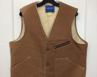 1970s Carter's brand made in USA canvas duck cloth fleece lined winter work vest size large Talon zipper tan beige