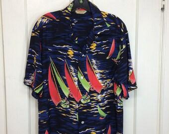 1940s silky rayon McGregor Hawaiian loop shirt size medium long made in USA blue black moon reflecting on the ocean sailboats scene island