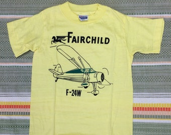 kids deadstock Fairchild F-24W vintage airplane t-shirt youth girls boys size small 12x16 pilot aircraft yellow tee Hanes made in USA NOS
