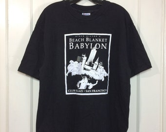 1990s Steve Silver's Beach Blanket Babylon t-shirt size XL 21x30 made in USA musical comedy theater drag queen Club Fugazi San Francisco