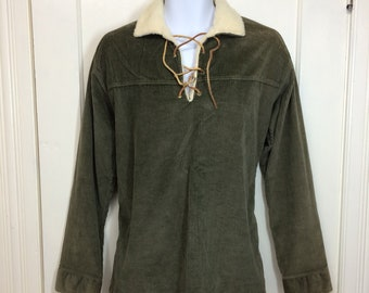 1950s lace up soft corduroy pullover shirt with fleece collar and cuffs size large dark olive green by Sherpa brand leather laces