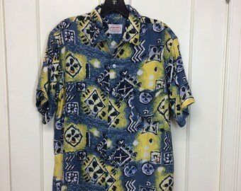 1950s Aloha Shirts hand screened rayon Hawaiian loop shirt size medium blue yellow abstract tribal tiki patterned made in Japan beach surfer