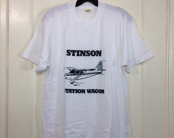 deadstock 1980s Stinson Station Wagon small airplane t-shirt size XL 21x26.5 pilot aircraft thin white Screen Stars made in USA NOS