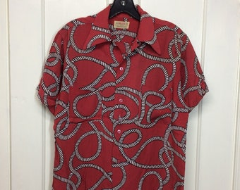 1940s rayon BVD brand nautical rope knot patterned Hawaiian loop shirt size small 14-14.5 rockabilly beach vacation surfer as-is
