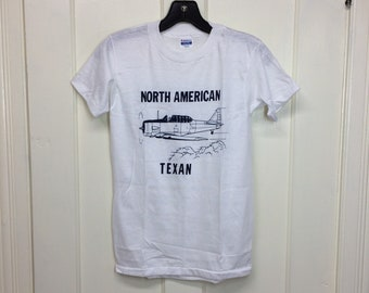 deadstock 1980s North American Texan USAF airplane t-shirt size boys 14-16 14.5x23.5 pilot aircraft thin white tee made in USA NOS