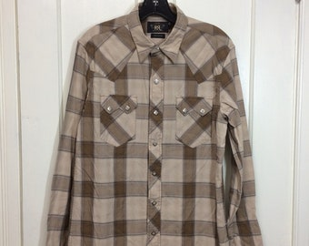 double RL RRL Ralph Lauren quality cotton western shirt diamond pearly snaps size medium brown plaid cowboy shirt
