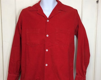 1950s bright blood orange red cotton corduroy loop shirt size medium rockabilly by Pilgrim Sportswear