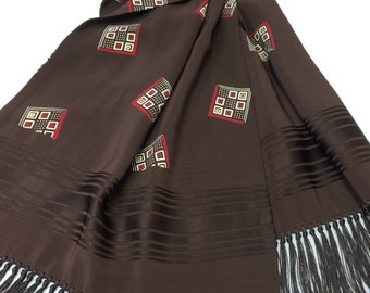 1930s 1940s brown rayon square patterned damask striped long ascot cravat opera scarf with fringe by Cisco 13x48 formal dapper gentleman