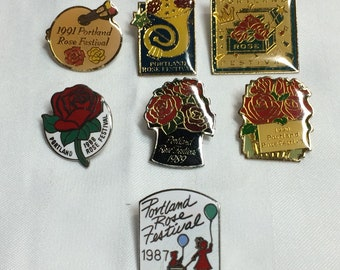 set of 7 Portland Rose Festival enamel pins button badge from 1987-1993 .75-1 inch memorabilia collector flowers 1980s 1990s collection