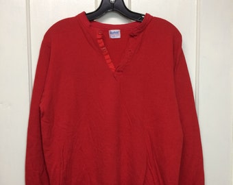 1970s Duofold soft cotton wool thermal undershirt size large long sleeve t-shirt red henley neck made in USA #8