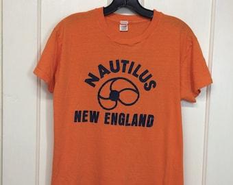1970s Nautilus New England, Newton Mass t-shirt looks size medium 18x23 orange sports athletic gym Hanes single stitch cotton made in USA