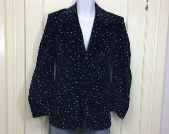 1970s dark blue velvet blazer with celestial stars patterned looks size small car coat tailored disco era magician sorcerer wizard