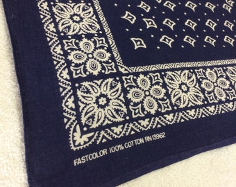 1950's faded indigo blue FastColor bandana 20x20 square paisley flowers hemmed cotton selvedge made in USA #11