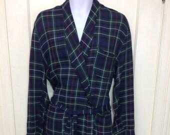 1950s rayon smoking jacket robe size large royal blue green plaid Clan Tartan Wash -n- Wear rockabilly beatnik loungewear