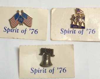 set of 3 Spirit of 1776 enamel pins button badge .5-1 inch memorabilia collector USA patriotic 1976 bicentennial flag Liberty Bell NWT NOS