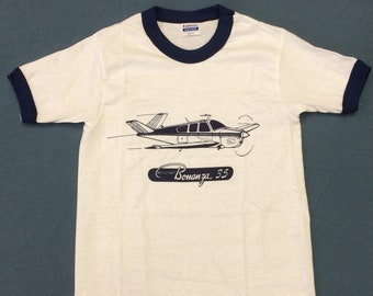 kids deadstock Beechcraft Bonanza 35 vintage airplane t-shirt girls boys youth size medium 13x19 pilot aircraft ringer tee made in USA NOS