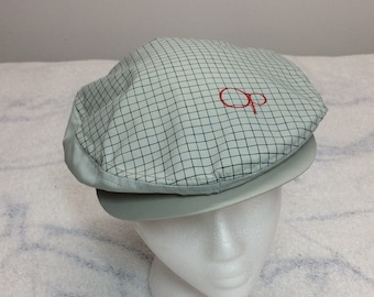 deadstock 1980s OP Ocean Pacific driving cap hat size large blue tag made in USA nos NWT water resistant seafoam green check