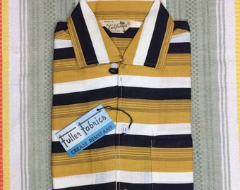1950s deadstock short sleeve loop collar shirt size small Styled in California label horizontal stripes yellow black NOS NWT rockabilly