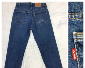 1980s faded Levi's 505 made in USA tag size 36X30, measures 33x29 straight leg denim boyfriend blue jeans #374