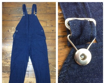 1930s 1940s indigo blue denim no pocket bib overalls measures 39 x 31 donut hole buttons light weight jean