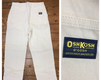 1970s deadstock Osh Kosh B'Gosh white canvas carpenter painters work pants 34X32 measures 33x31 Sanforized Talon Union made USA NOS workwear