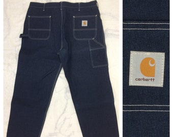 1980s deadstock Carhartt dark blue carpenter painters pants jeans size 42x30 Union made in USA NOS workwear