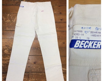 1970s deadstock white canvas carpenter painters pants jeans by Becker measures 32x34 tall Talon zipper NWT NOS workwear