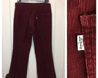 1970's Levi's 646 corduroys measures 32x28.5 burgundy red rust cords bell bottom flare jeans Talon zipper made in USA #618