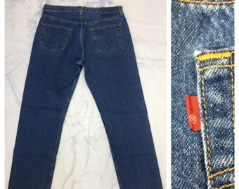 1990s Levi's 501 blue denim jeans 36X32, measures 34x30 straight leg button fly made in USA boyfriend jeans #373
