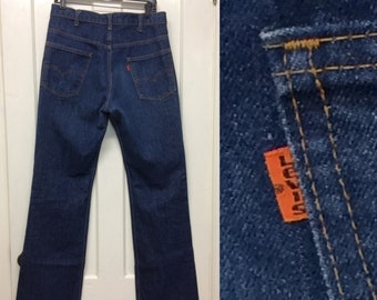 1980s Levis 517 orange tab boot cut flare dark wash blue jeans 34x36, measures 33X35 tall made in USA boho hippie boyfriend jeans #368