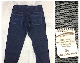 1970s one wash denim prison work jeans size 34 measures 35x28 by MassCop workwear