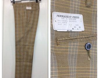 deadstock 1960s plaid peg leg pants 29x28, measures 28x27 light weight tan plaid mod skate punk Ivy League preppy high water floods NOS NWT