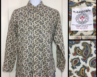 1960s Arrow brand all cotton button down collar shirt size large white green gold yellow red paisley patterned Ivy League preppy Sanforized