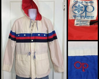 1980's OP Ocean Pacific rain coat jacket mountain parka hoody size small cotton nylon made in USA red white blue striped weather wear
