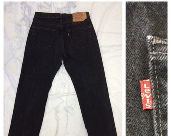 1990s Levi's 501 black denim jeans 34X30, measures 30.5x29 straight leg button fly made in USA boyfriend jeans #372