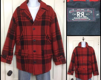 1990s does 1940s RRL Ralph Lauren Polo made in USA red black plaid wool hunting jacket coat size large