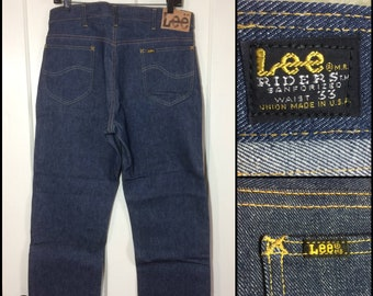 Deadstock 1960s Lee Riders 101Z side black label hard denim dark wash blue boyfriend jeans 33x30, Talon zipper nos #308