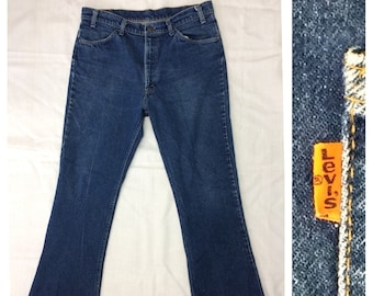 1970s Levis 646 orange tab bellbottom jeans 38x34 measures 36x32 bell bottom flare boyfriend faded blue jeans Talon zipper #8 button #383
