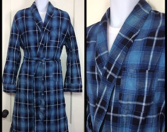 1950's shadow plaid cotton flannel belted long robe looks size medium blue black white smoking jacket loungewear