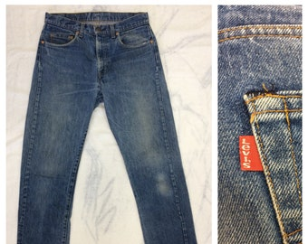 1980s faded Levis 505 made in USA blue jeans tag size 34 X 34 measures 32x33 straight leg black bar stitch denim boyfriend jeans #377