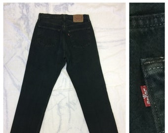 1990s Levi's 501 over dyed dark green color denim jeans 32X32, measures 29.5x31 straight leg button fly made in USA boyfriend jeans #371