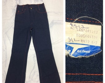 1970s deadstock indigo blue bellbottom jeans by Becker measures 29x34 extra long tall Sanforized Talon orange stitching NWT NOS boho hippie