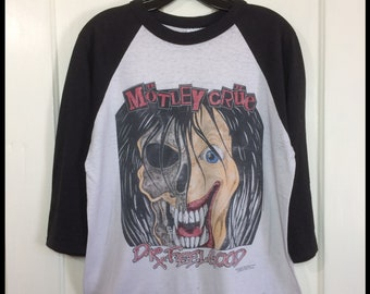 1990s Motley Crue Dr Feelgood heavy metal rock band baseball jersey t-shirt size large 20.5x24 worn paper thin distressed black white 2 tone