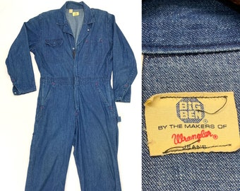 1960s Big Ben by Wrangler jeans coveralls size medium short 36x28 blue vintage denim workwear mechanic carpenter