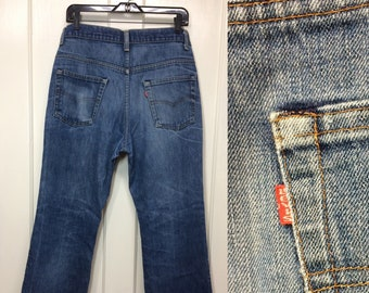 1980s Levis 517 boot cut flare faded worn soft denim blue jeans 34x30 measures 32.5x28 frayed hem patina black bar stitch made in USA #367