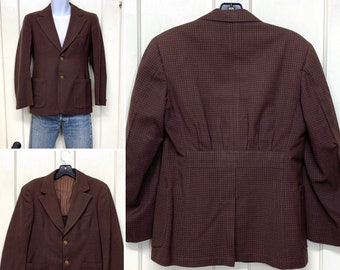 1920s 1930s back belted gabardine tailored sport jacket looks size XS short with bakelite buttons pleated pockets blazer suit jacket