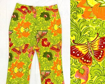 1960s floral butterfly patterned trousers 37X27 bright colorful lime green boating palm beach pucci style preppy resort