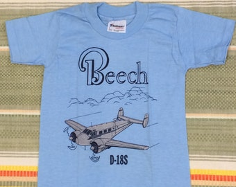 kids deadstock Beech D-18S vintage airplane t-shirt youth girls boys size small 12x17 pilot aircraft light blue silver print made in USA NOS